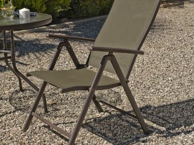 Folding Garden Chair Adjustable in 5 Positions, Bronze Colour - Caribe