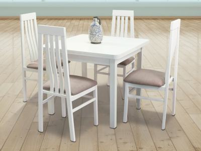 White Dining Set with Extending Table and 4 chairs – Vejle / Utiel