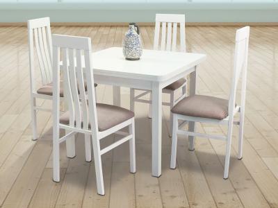 Conjunto de comedor con mesa extensible y 4 sillas - Vejle - Utiel. Color blanco