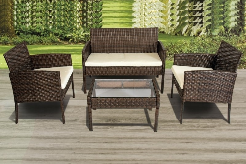 patio set loveseat 2 armchairs and coffee table synthetic rattan septiembre
