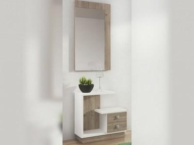 Conjunto de recibidor con espejo, 2 cajones, blanco y marrón - modelo Teramo