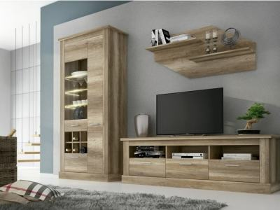 Lounge Wall Unit: TV Stand, Cabinet with LED and Shelf, 276 cm, Imitation Wood - Alabama