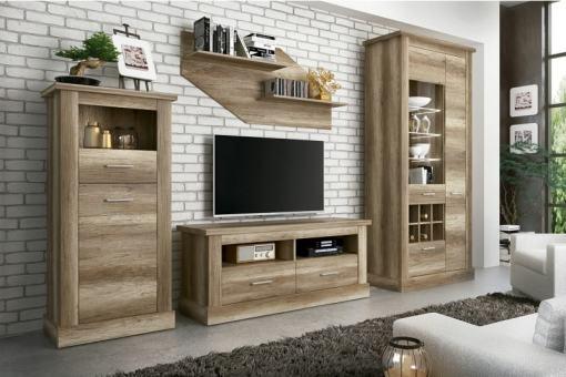 Conjunto de salón con bodeguero, bajo TV, vitrina y estante, efecto madera, 297 cm - Alabama