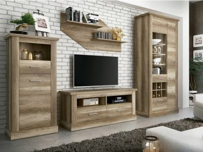 Living Room Wall Unit: Tall Cabinet, TV Stand, Cabinet with Lights, Shelf, 297 cm - Alabama