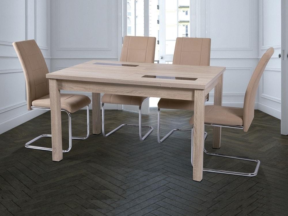 Juego de comedor moderno con mesa extensible y 4 sillas tapizadas - Catania  / Aspe - Don Baraton: tienda de sofás, colchones y muebles