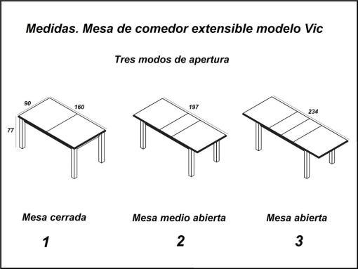 Размеры и три позиции открытия большого раздвижного стола Vic