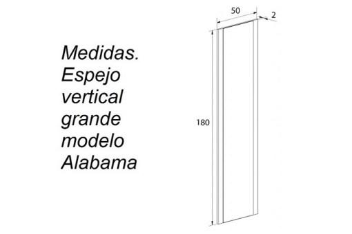 Medidas. Espejo vertical grande modelo Alabama