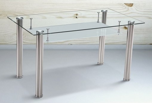 Mesa comedor de cristal con balda y patas cromadas - Moncada