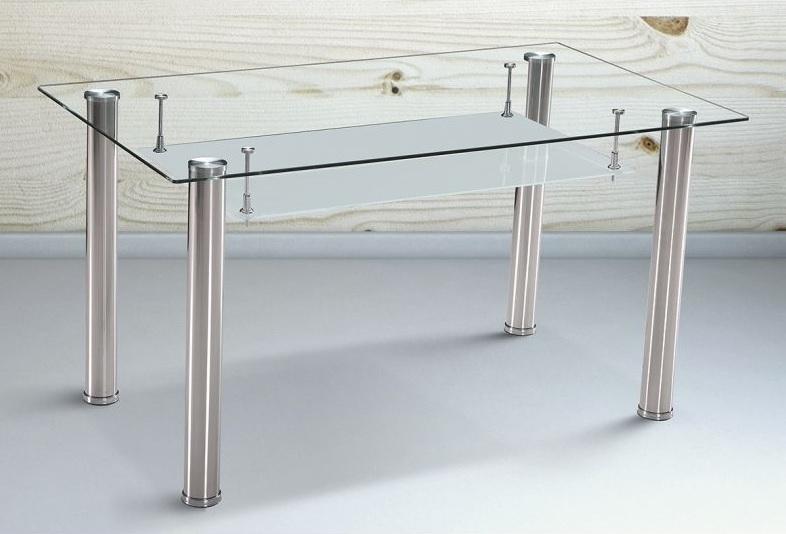 Mesa comedor de cristal con balda y patas cromadas - Moncada - Don Baraton:  tienda de sofás, colchones y muebles