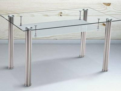 Dining Table with Shelf Storage Under Glass Top, 140 x 80 cm - Moncada