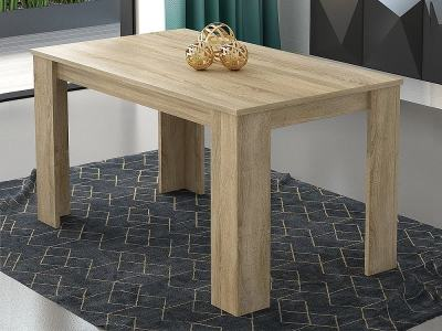 Oak Colour Rectangular Fixed Dining Table 140 x 80 cm - Manresa