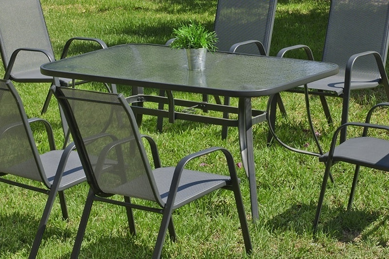 Grey Steel Rectangular Patio Table, 150 cm / 180 cm - Dominica