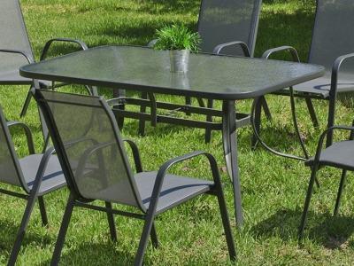 Mesa de jardín rectangular 150 x 90 cm, color gris, acero - Dominica