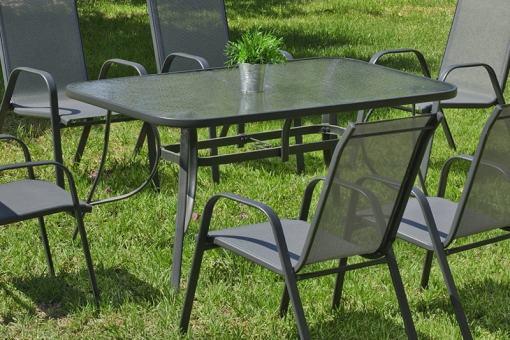 Mesa de jardín rectangular 180 x 90 cm, color gris, acero - Dominica