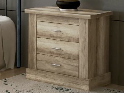 3 Drawer Bedside Table, Wood Imitation - Alabama