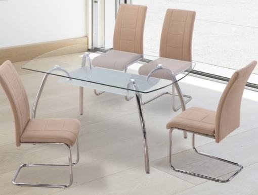 Set comedor moderno mesa de cristal + 4 sillas tapizadas. Color beige. Aspe