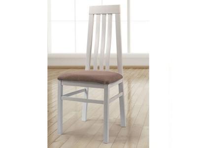 Silla de madera maciza con asiento tapizado en tela. Marco color blanco - Utiel