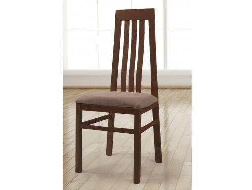 Silla de madera maciza con asiento tapizado en tela. Marco color cerezo - Utiel