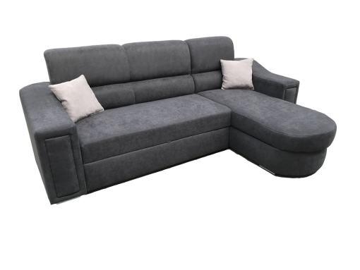Sofá chaise longue con cama y arcón - Venecia. Tela gris oscuro, chaise longue lado derecho