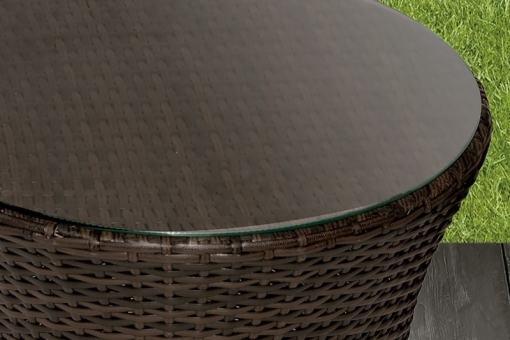 Tope de la mesa baja en cristal templado. Conjunto de jardín modelo Marzo