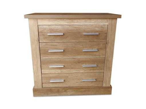 Front View of the 4 Drawer Chest of Drawers, 2 Handles Each, Imitation Wood Finish - Alabama