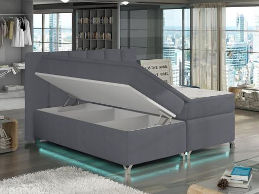 Arcón abierto de la cama con luz LED, 180 x 200 modelo Barbara