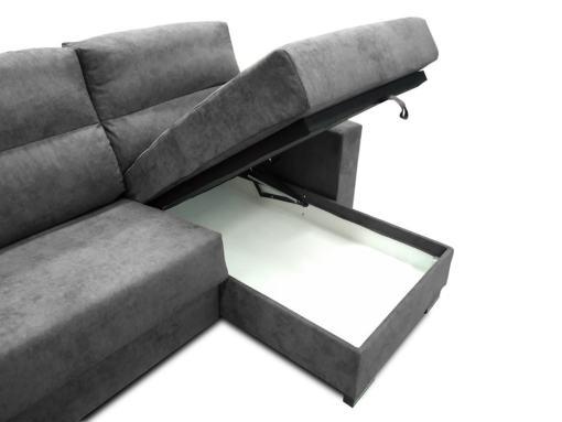 Arcón debajo de la chaise longue. Sofá apertura italiana modelo Madrid. Tela gris oscuro