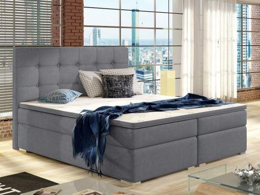 Cama Box Spring doble tapizada 160 x 200 cm con colchón, cabecero y topper incluidos - Luisa. Tela gris Soro 93