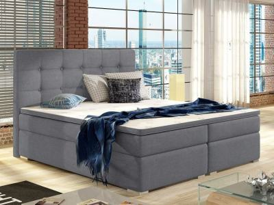 King Size Box Spring Bed with Mattress 160 x 200, Headboard and Topper - Luisa. Light Grey Fabric Soro 93