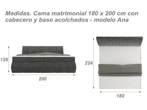 Medidas de la cama 180 x 200 cm modelo Ana