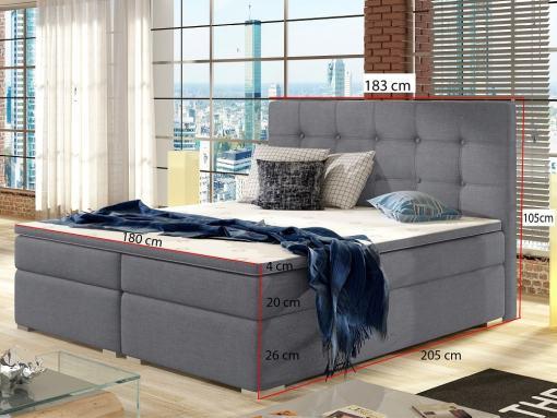 Medidas de la cama de matrimonio tapizada 180 x 200 cm con colchón, cabecero y topper - Luisa