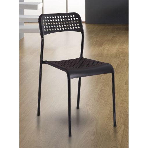 Black Inexpensive Kitchen Chair in Steel and Plastic - Parla