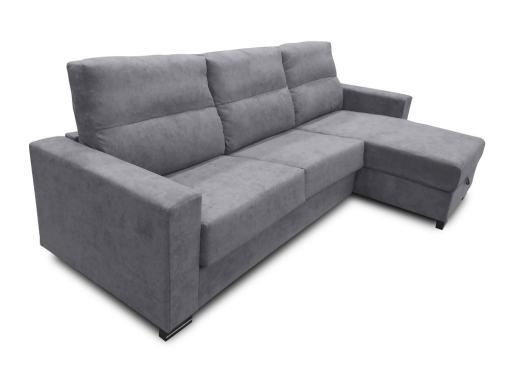 Chaise Longue Sofa Bed with Full Mattress - Madrid. Light Grey Fabric
