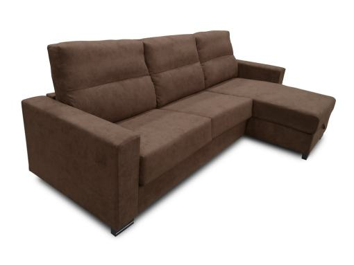 Chaise Longue Sofa Bed with Full Mattress - Madrid. Dark Brown (Chocolate) Fabric