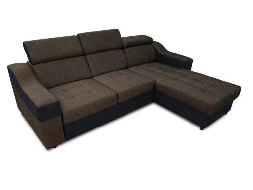 Sofá chaise longue cama con altos reposacabezas_ marrón con negro - Albi. Chaise longue reversible montado al lado derecho