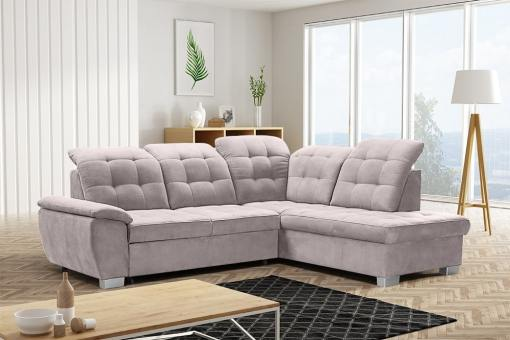 Sofá rinconera alto respaldo, con cama, arcón, reposacabezas reclinables - Hamilton. Esquina lado derecho. Color beige