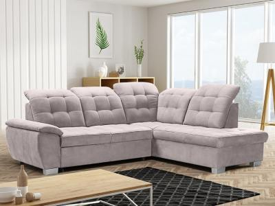 Corner sofa with high backrest, reclining headrests, bed and storage - Hamilton. Right side corner, beige fabric