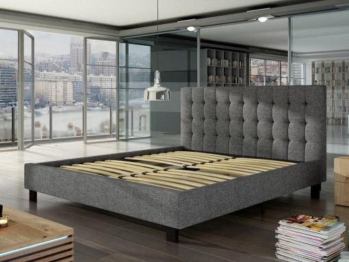 Somier de láminas de la cama de matrimonio tapizada 160 x 200 cm con cabecero - Margarita