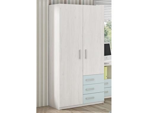Двухдверный шкаф для детской комнаты с 3 ящиками - Luddo. Голубой цвет ящиков