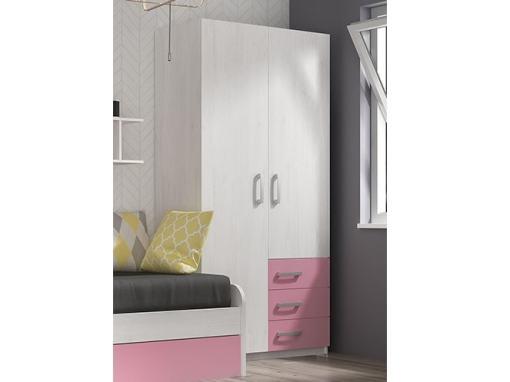 Двухдверный шкаф для детской комнаты с 3 ящиками - Luddo. Розовый цвет ящиков