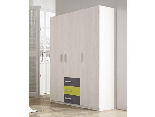 Трёхдверный шкаф для детской комнаты с 3 ящиками - Luddo. Два серых ящика, один зелёный ящик