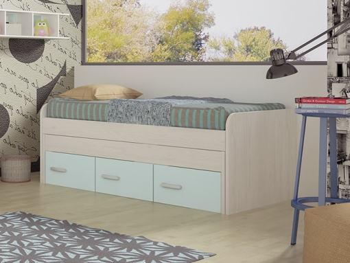 Cama compacta con cajones juvenil - Luddo. Cajones color azul