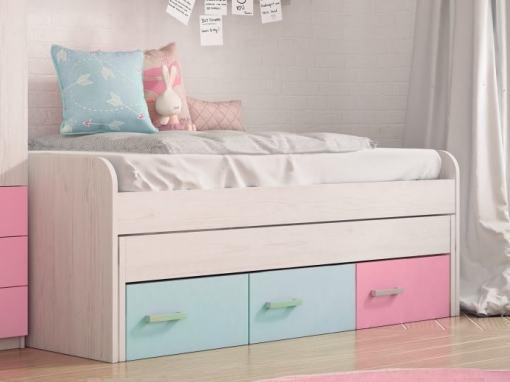 Cama compacta con cajones juvenil - Luddo. Colores cajones - azul, azul, rosa
