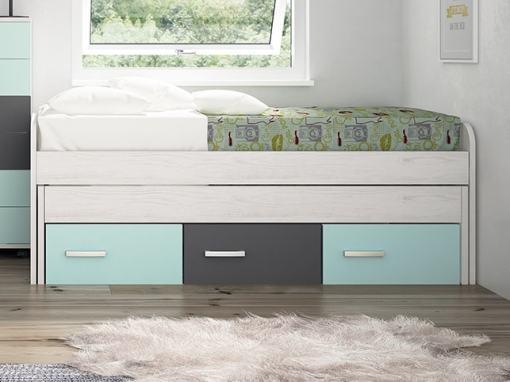 Cama compacta con cajones juvenil - Luddo. Colores cajones - azul, gris, azul