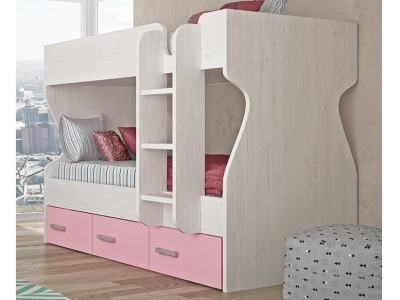Kids' Bunk Bed with 3 Drawers and Ladder - Luddo. Pink Drawers