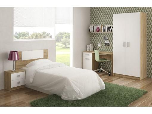 Dormitorio con armario, mesa estudio, mesa noche, estante y cabecero. Color blanco - roble. Modelo Rimini 07
