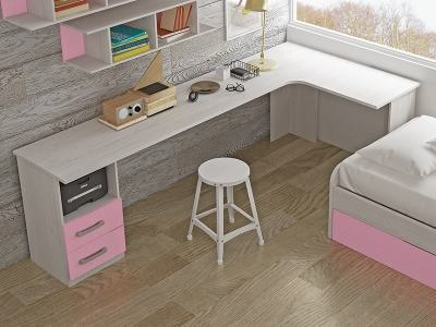 L-shaped desk for children with 2 drawers, 240 x 120 cm - Luddo. Pink drawers. Corner on the right