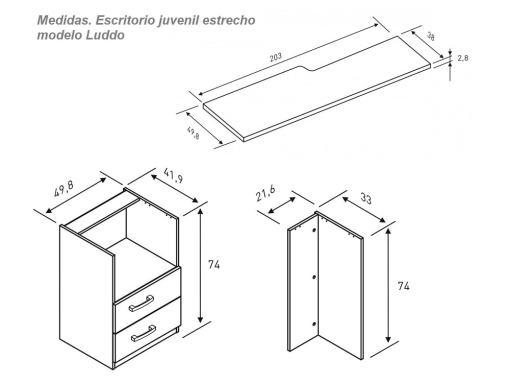 Medidas de escritorio juvenil estrecho modelo Luddo