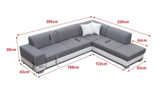 Dimensions. Modern Corner Sofa Bed with Cushions – Barbados