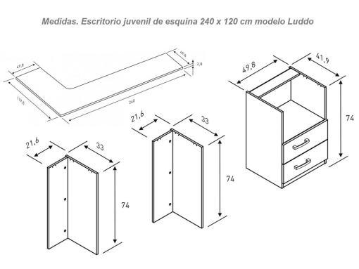 Medidas. Escritorio juvenil de esquina con dos cajones, 240 x 120 cm - modelo Luddo